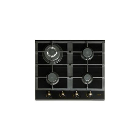 Encimera de gas rustica cata rci 631 cristal negro for Encimera gas natural