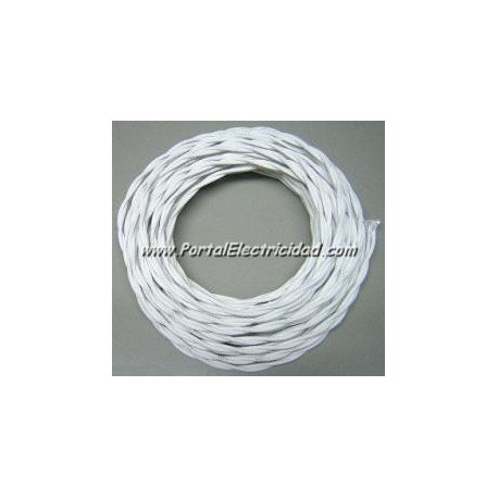 CABLE TRENZADO REPLICA ALGODÓN IGNIFUGO, SECCION 2X1,5MM. BLANCO