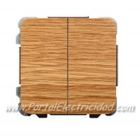 DOBLE INTERRUPTOR SENCILLO, MADERA ROBLE