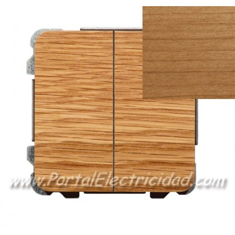 DOBLE INTERRUPTOR SENCILLO, MADERA CEREZO