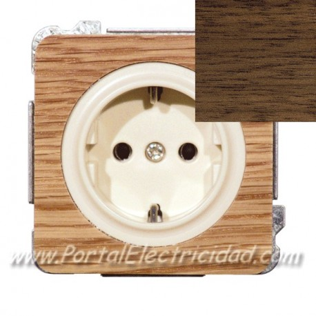 BASE DE ENCHUFE SCHUKO TTL, MADERA WENGUE
