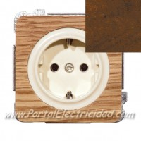 BASE DE ENCHUFE SCHUKO TTL, MADERA NOGAL
