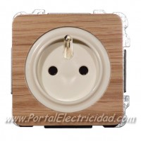 BASE DE ENCHUFE SISTEMA FRANCES, MADERA ROBLE