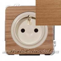 BASE DE ENCHUFE SISTEMA FRANCES, MADERA CEREZO