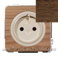 BASE DE ENCHUFE SISTEMA FRANCES, MADERA WENGUE