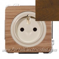 BASE DE ENCHUFE SISTEMA FRANCES, MADERA NOGAL