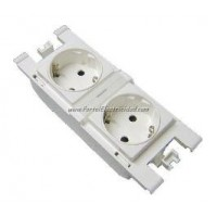 BASE DE ENCHUFE SCHUKO DOBLE 2P+TT. BLANCO