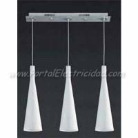 LAMPARA COLGANTE CRISTAL BLANCO 3 TULIPAS