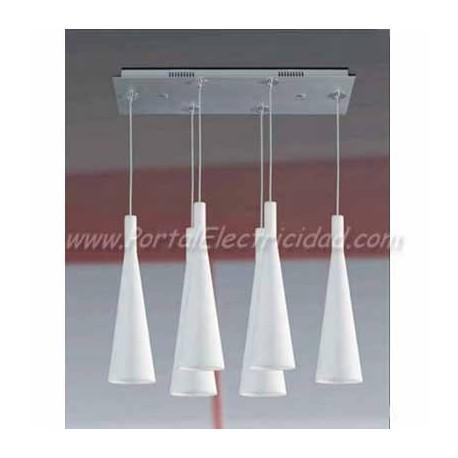LAMPARA COLGANTE CRISTAL BLANCO 6 TULIPAS