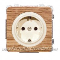 BASE DE ENCHUFE SCHUKO TTL, MADERA ROBLE