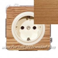 BASE DE ENCHUFE SCHUKO TTL, MADERA CEREZO