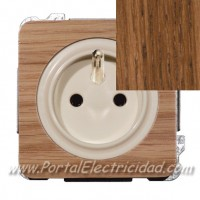 BASE DE ENCHUFE SISTEMA FRANCES, MADERA ROBLE ENVEJECIDO