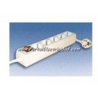 BASE 5 SCHUKO+1,5 MTS. DE CABLE+INTERRUPTOR SUPERFICIE
