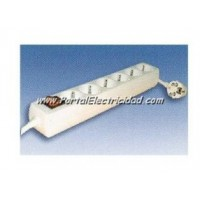 BASE 6 SCHUKO+1,5 MTS. DE CABLE+ INTERRUPTOR SUPERFICIE