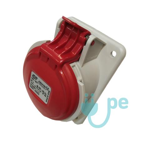 BASE EMPOTRAR INCLINADA TIPO CETACT.3P+T 16A 380V ROJA