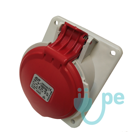 BASE EMPOTRAR INCLINADA TIPO CETACT.3P+T 32A 380V ROJA