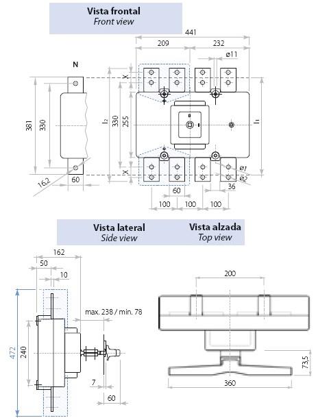Dimensiones Interruptor Seccionador Tetrapolar 1000A y 1600A Telergon