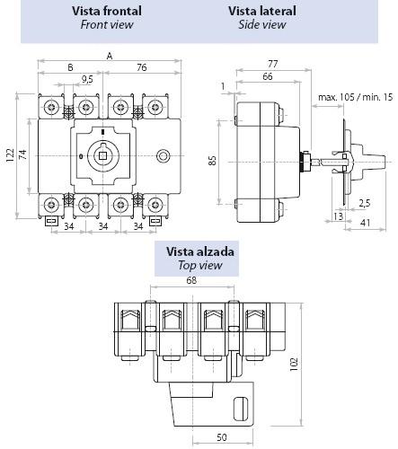 Dimensiones Interruptor Seccionador Tetrapolar 160A Telergon