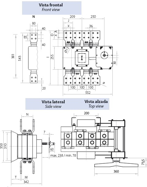 Dimensiones Interruptor Seccionador Tetrapolar 2000A Telergon