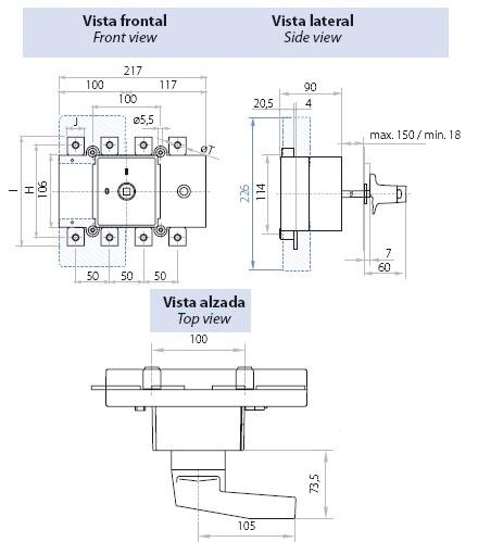 Dimensiones Interruptor Seccionador Tetrapolar 250A Telergon