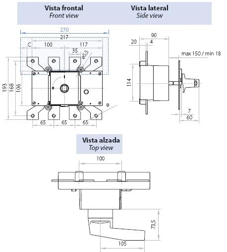 Dimensiones Interruptor Seccionador Tetrapolar 400A Telergon