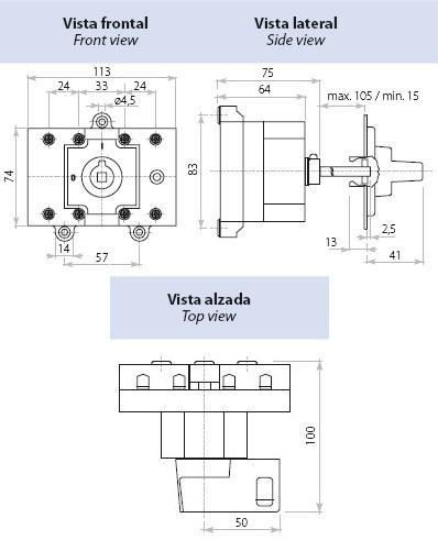 Dimensiones Interruptor Seccionador Tetrapolar 63A Telergon
